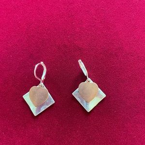Earrings; Silver Plated Squares & Copper Hearts